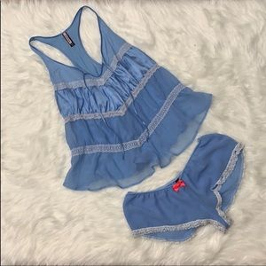 {Victoria's Secret} Blue Babydoll Lingerie Set